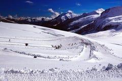 Spettacoli all'aperto di inverno in alpi svizzere (Jungfraujoch/cima di Europa) Fotografie Stock