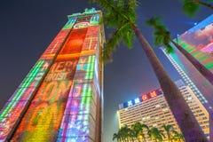 Spettacolo di luci della torre di orologio Fotografie Stock