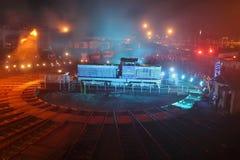 Spettacolo di luci ferroviario di notte Fotografia Stock Libera da Diritti