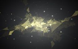 Spettacolo di luci nero astratto del fondo di tecnologia del triangolo della maglia Fotografia Stock