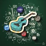 Spettacolo e collage di musica con le icone sopra Fotografie Stock Libere da Diritti