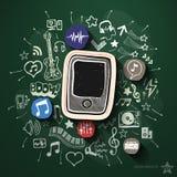 Spettacolo e collage di musica con le icone sopra Fotografie Stock