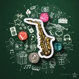 Spettacolo e collage di musica con le icone sopra Immagine Stock