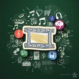 Spettacolo e collage di musica con le icone sopra Immagini Stock