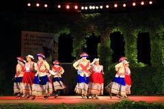 Spettacolo peruviano del gruppo di ballo di folclore Fotografie Stock Libere da Diritti