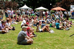 Spettatori che si siedono sulla prestazione dell'orologio dell'erba al festival Fotografie Stock Libere da Diritti