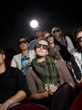 Spettatori del cinematografo con i vetri 3d Fotografia Stock Libera da Diritti