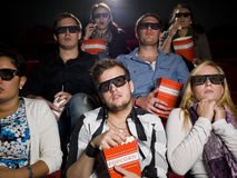 Spettatori spaventati di film Immagine Stock Libera da Diritti