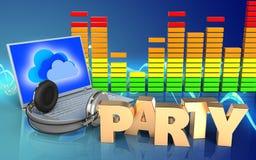 spettro dell'audio del segno del partito 3d Immagini Stock