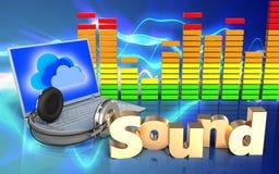 spettro dell'audio del segno 'del suono 3d' Fotografia Stock