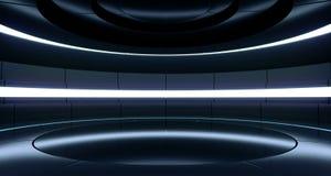 Spettro vibrante fluorescente della fase di Hall Glowing Blue Neon Lights della stanza straniera moderna futuristica di Sci Fi de royalty illustrazione gratis