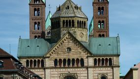 The Speyer Cathedral, famous UNESCO world heritage site, detail view. Facade of the famous UNESCO World Heritage Site Speyer Cathedral, Speyer, Germany, Jun 2017 stock video footage