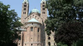 Speyer Cathedral tilt shot. The Speyer Cathedral, officially the Imperial Cathedral Basilica of the Assumption and St Stephen, in Speyer, Germany, as seen from stock video footage
