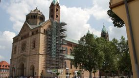 Speyer Cathedral. The Speyer Cathedral, officially the Imperial Cathedral Basilica of the Assumption and St Stephen, in Speyer, Germany, as seen from the west stock video footage