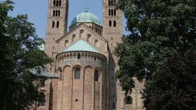 Speyer Cathedral. The Speyer Cathedral, officially the Imperial Cathedral Basilica of the Assumption and St Stephen, in Speyer, Germany, as seen from the east stock video footage