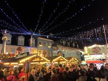 Speyer Germany 2017 December 1st - Christmas market at Speyer Cathedral by night.  Royalty Free Stock Photo
