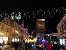 Speyer Germany 2017 December 1st - Christmas market at Speyer Cathedral by night.  Royalty Free Stock Images