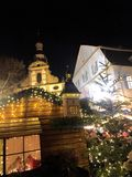 Speyer Germany 2017 December 1st - Christmas market at Speyer Cathedral by night.  Royalty Free Stock Photos