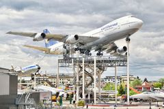 Boeing 747 Jumbo Jet in Museum of Technology. Royalty Free Stock Photos