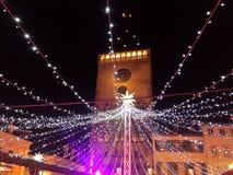 Speyer Tyskland 2017 December 1st - jul marknadsför på den Speyer domkyrkan vid natt Arkivbild