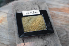 Spezia del cumino in un piccolo piatto con l'etichetta Fotografie Stock