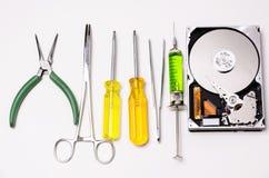 Spezialwerkzeuge für Festplattenreparatur Stockfotografie