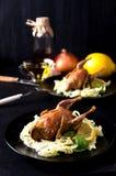 Spezie al forno del limone del basilico dei gallinacei della quaglia di paia Fotografia Stock