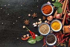 Spezie con gli ingredienti su fondo scuro sano o cucinando c Immagine Stock Libera da Diritti