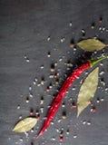 Spezie del peperone e foglia di alloro pungenti sull'albero nero Vista da sopra Immagine Stock