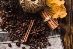 Spezie di autunno con i chicchi di caffè sulla tavola immagine stock libera da diritti