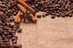 Spezie e chicchi di caffè sulla tavola Fotografie Stock Libere da Diritti