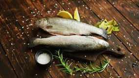 Spezie e limone intorno al pesce stock footage