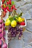 Spezie e merce nel carrello mista della frutta Immagini Stock