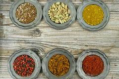 Spezie ed erbe in ciotole del metallo Ingredienti di cucina e dell'alimento Immagini Stock Libere da Diritti