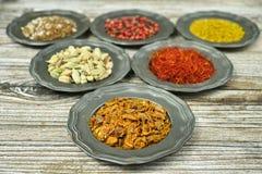 Spezie ed erbe in ciotole del metallo Ingredienti di cucina e dell'alimento Immagine Stock Libera da Diritti