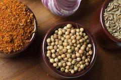 Spezie ed erbe in ciotole di ceramica Ingredienti di cucina e dell'alimento Immagine Stock Libera da Diritti