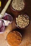 Spezie ed erbe in ciotole di ceramica Ingredienti di cucina e dell'alimento Fotografia Stock Libera da Diritti