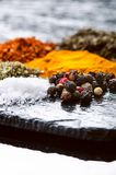 Spezie ed erbe differenti su un'ardesia nera Spezie indiane Ingredienti per cucinare Concetto sano di cibo Varie spezie su dar Immagine Stock Libera da Diritti