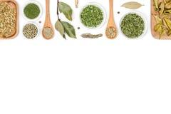Spezie ed erbe su fondo bianco Vista superiore Immagine Stock