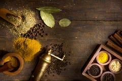 Spezie ed erbe sulla tabella di legno fotografia stock libera da diritti