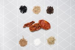 Spezie ed ingredienti nella vostra cucina Fotografia Stock
