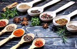Spezie indiane aromatiche variopinte ed erbe su un bordo blu profondo di legno della vecchia quercia Fotografie Stock