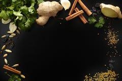 Spezie indiane fresche e secche su fondo nero, spazio della copia Fotografia Stock