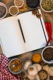 Spezie - libro aperto di ricetta - spazio per testo immagine stock