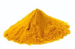 Spezie - mucchio di curcuma gialla sopra bianco Fotografie Stock