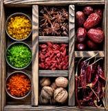 Spezie nella scatola Fotografia Stock