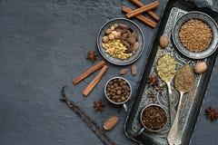 Spezie per il pan di zenzero o i muffin bollenti: vaniglia, cannella, grano saraceno, coriandolo, chiodi di garofano, cardamomo,  Immagini Stock