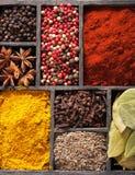 Spezie in scatola: pepe nero rosa, polvere della paprica, curry, baia le Fotografia Stock Libera da Diritti