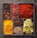 Spezie in scatola: pepe rosa e nero, polvere della paprica, curry, baia Fotografia Stock Libera da Diritti