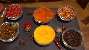 Spezie Varie spezie indiane sulla tavola spezia e fondo differenti delle erbe, assortimento dei condimenti dei condimenti archivi video